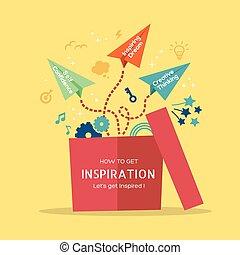 inspiratie, concept, illustratie, met, papieren vliegtuig,...