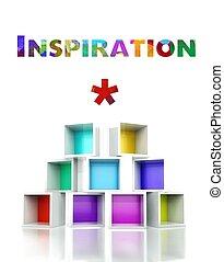 Inspiration concept. colorful 3d design illustration