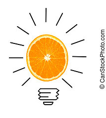 Inspiration concept of orange as light bulb metaphor for good idea