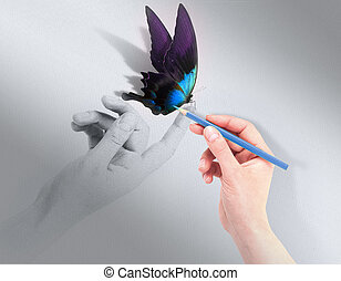 Inspiration concept with beautiful butterfly