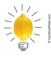Inspiration concept yellow lemon as light bulb metaphor for good idea