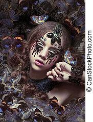 inspiration., donna, con, fantastico, teardrops, e, farfalle