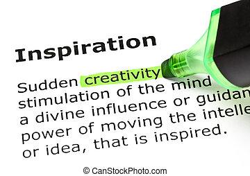 'inspiration', evidenziato, 'creativity', sotto