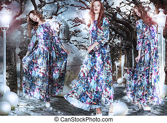 inspiration., fantasy., 婦女, 在, 花, 衣服, 在中間, 樹