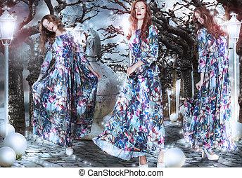inspiration., fantasy., vrouwen, in, bloemrijk, jurken, tussen, bomen