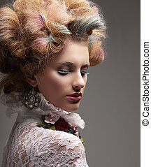 Inspiration. Fashion Model with Colorful Dyed Hair