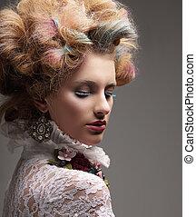 inspiration., fason modelują, z, barwny, farbowany włos