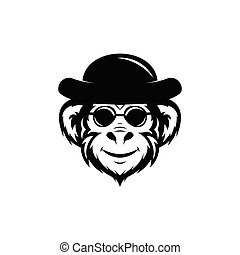 monkey in glasses and hat