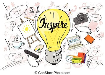 Inspiration Light Bulb Idea Creative Concept Doodle Sketch Hand Draw Background Business Brainstorming Infographic