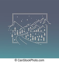 Inspiration linear poster with mountains, road and the stars.