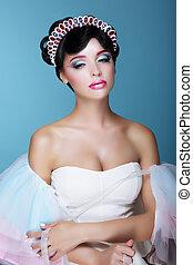 inspiration., modelo moda, com, dramático, teatral, maquilagem, e, diadema