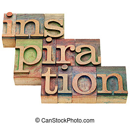 inspiration, mot, dans, letterpress, type