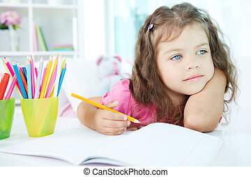 Inspiration - Portrait of lovely girl drawing with colorful...