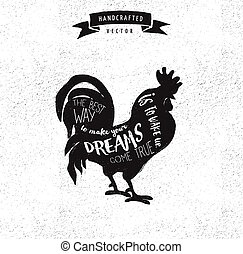 inspiration quote hipster vintage design label - rooster - ...