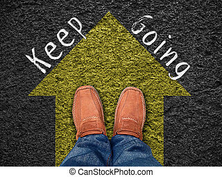 """Inspiration quote : """" Keep going"""" on aerial view of shoe on ..."""