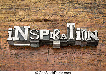 inspiration word in metal type
