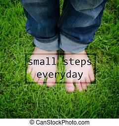 inspirational, alledaags, -small, stappen, noteren