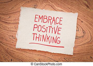 inspirational, handschrift, umarmung, -, denken, positiv