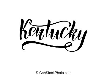 Inspirational handwritten brush lettering Kentucky. Vector calligraphy illustration isolated on white background. Typography for banners, badges, postcard, t-shirt, prints, posters.