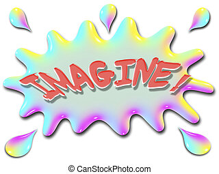The word imagine is shown on top of a stylized splash of water, very colorful, and rainbow like.