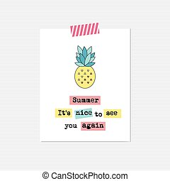 inspirational, kaart, ananas