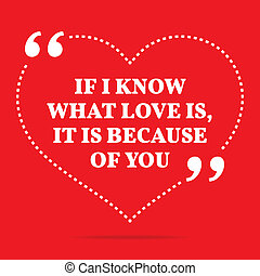 Inspirational love quote. If I know what love is, it is because of you.