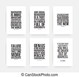 Inspirational motivating quotes set