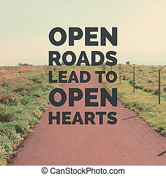 Inspirational motivation quote on landscape of the road