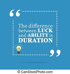 Inspirational motivational quote. The difference between...