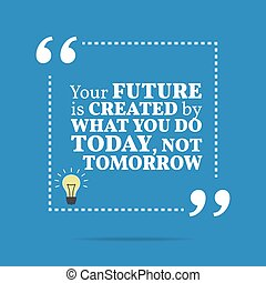 Inspirational motivational quote. The future is created by what you do today, not tomorrow. Simple trendy design.