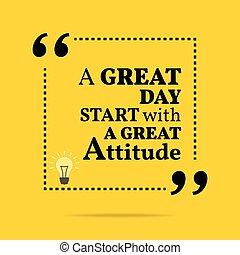 inspirational, motivational, quote., um, grande, dia,...