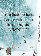Inspirational quote about humor by Dr. Suess, with funny animals gathering during a snowstorm.