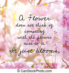 Inspirational quote on blur background of pink blossom flowers