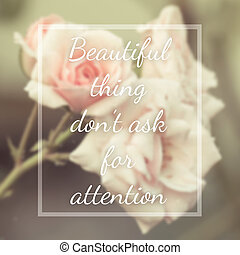 Inspirational quote on blurred flowers background