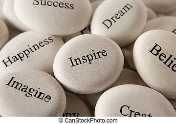 Inspirational stones - Inspire - Close up of engraved stones