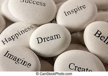 inspirational, -, traum, steine