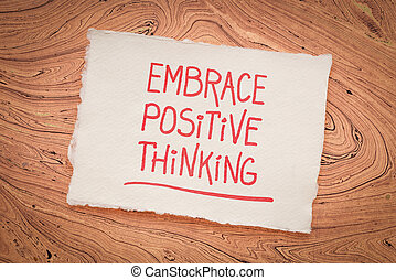 inspirationnel, écriture, embrasser, -, pensée, positif