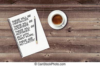 inspirationnel, notepad., citation