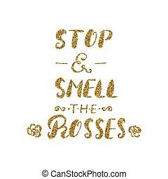 inspirationnel, odeur, brosse, -handdrawn, roses, citation, ...