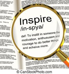 inspire, definição, magnifier, mostra, motivação,...