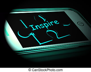 Inspire On Smartphone Showing Encouragement 3d Rendering