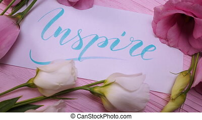 Inspire text. Font of lettering motivational word on white ...