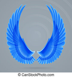 Inspire wings - Inspiring wings blue colour drawn separately...