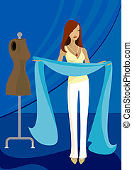 Inspired By Blue - Woman holds long blue fabric, inspired to...