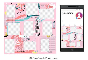 Inspired by instagram grunge vector social media puzzle template design