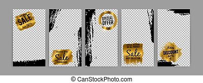 Inspired by instagram - social media vector stories sale template with grunge effect