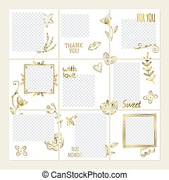 Inspired by vector social media collage template with doodle branches and flowers design