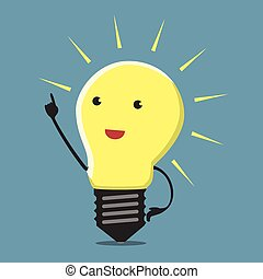 Inspired light bulb character, aha moment, EPS 10 vector illustration