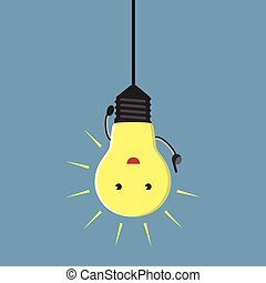 Inspired light bulb character hanging, aha moment, EPS 10 vector illustration, no transparency