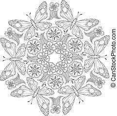 inspired., mariposas, zenart, flowers., mendie, monocromo, mandala
